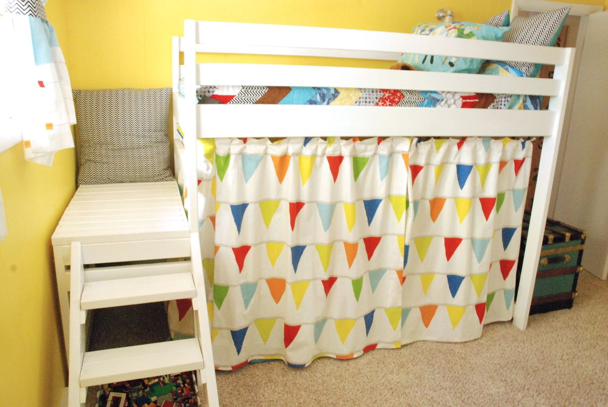Ana White | DIY Jr. Camp Loft Bed with Curtain - DIY Projects