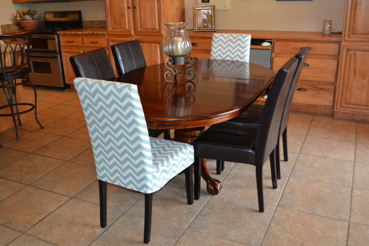 Parson Chair Slip Cover With Chevron Fabric So Easy