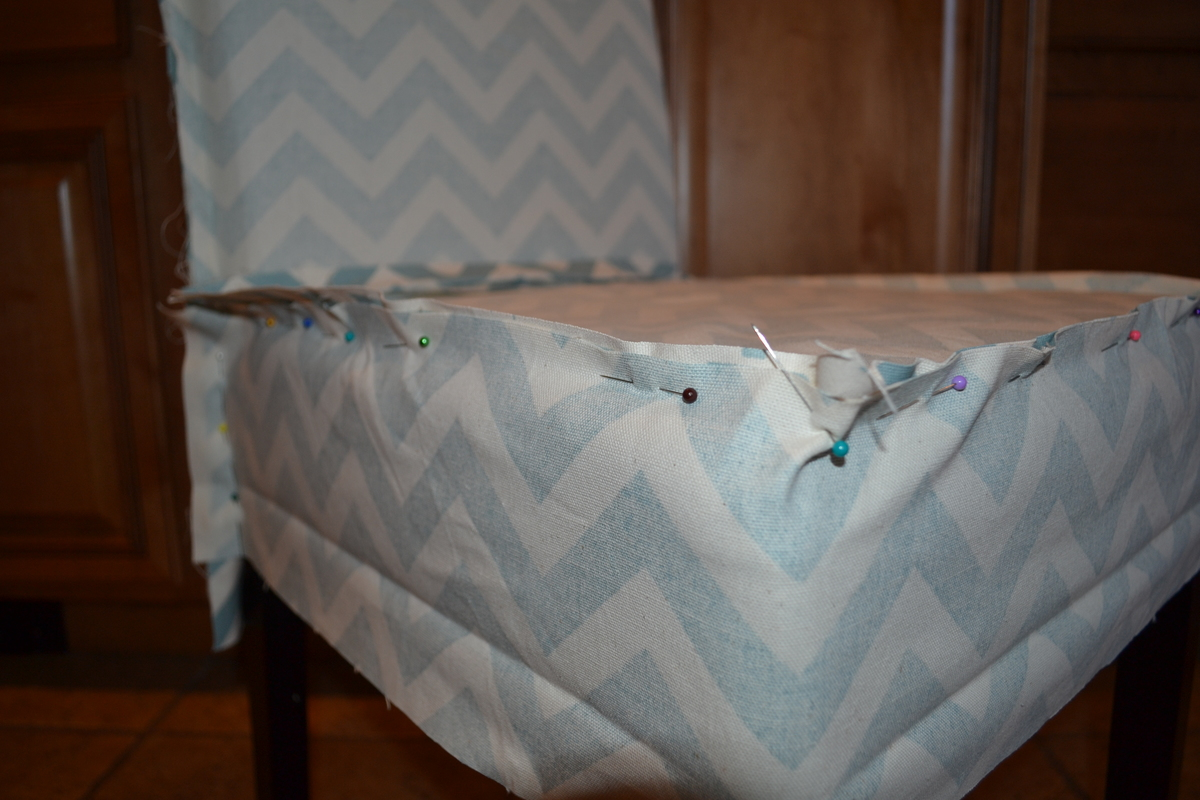 Marvelous Parson Chair Slip Cover With Chevron Fabric (so Easy!)