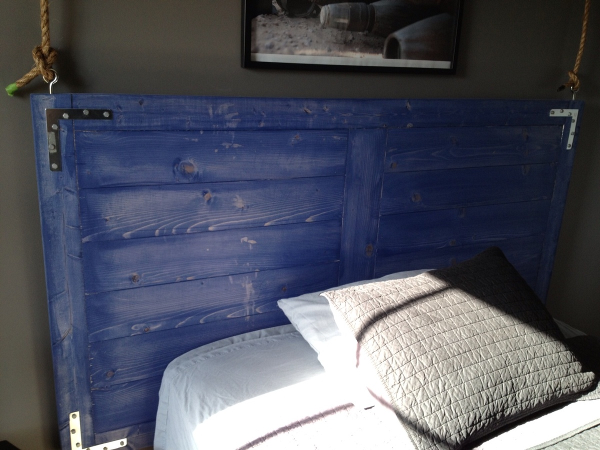 headboard here loving on upholstered wall diy cleat the wooden installing hanging up