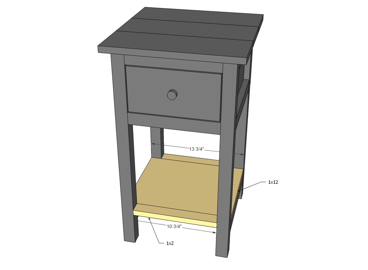 Ana white mini farmhouse bedside table plans diy projects for Free nightstand woodworking plans