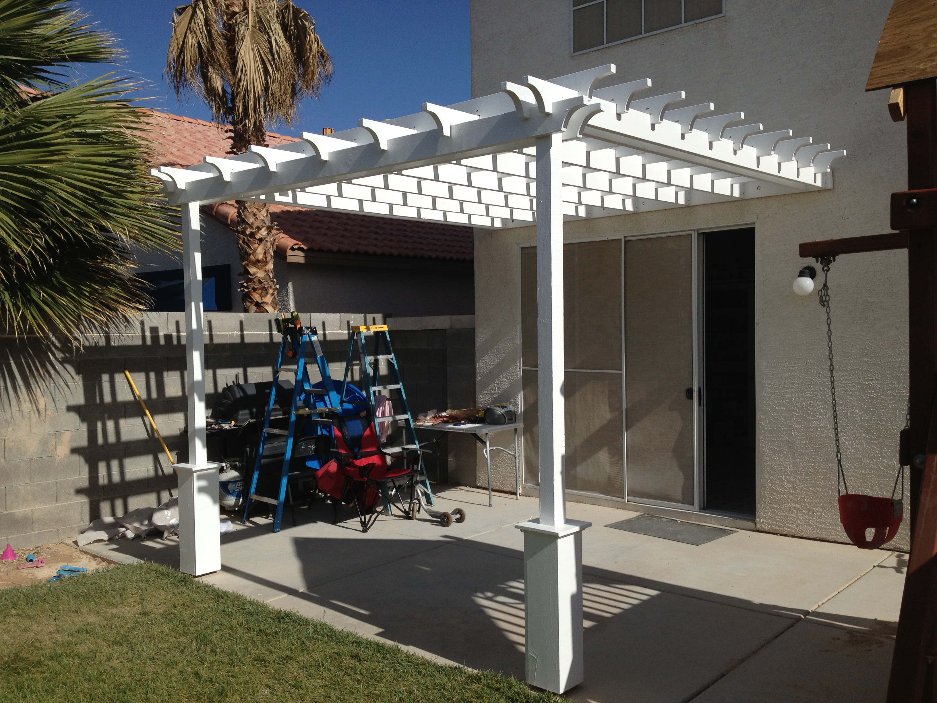 Ana white pergola attached directly to the house diy projects pergola attached directly to the house solutioingenieria Gallery