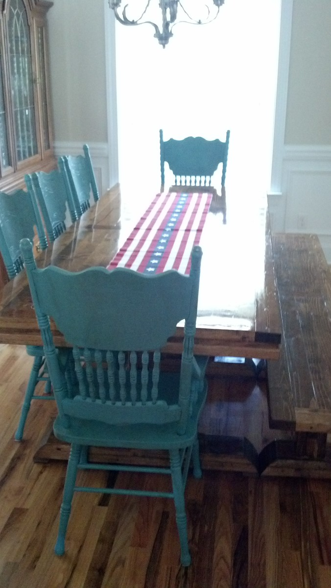 Ana White | Triple Pedestal Farmhouse Table & Bench - DIY Projects