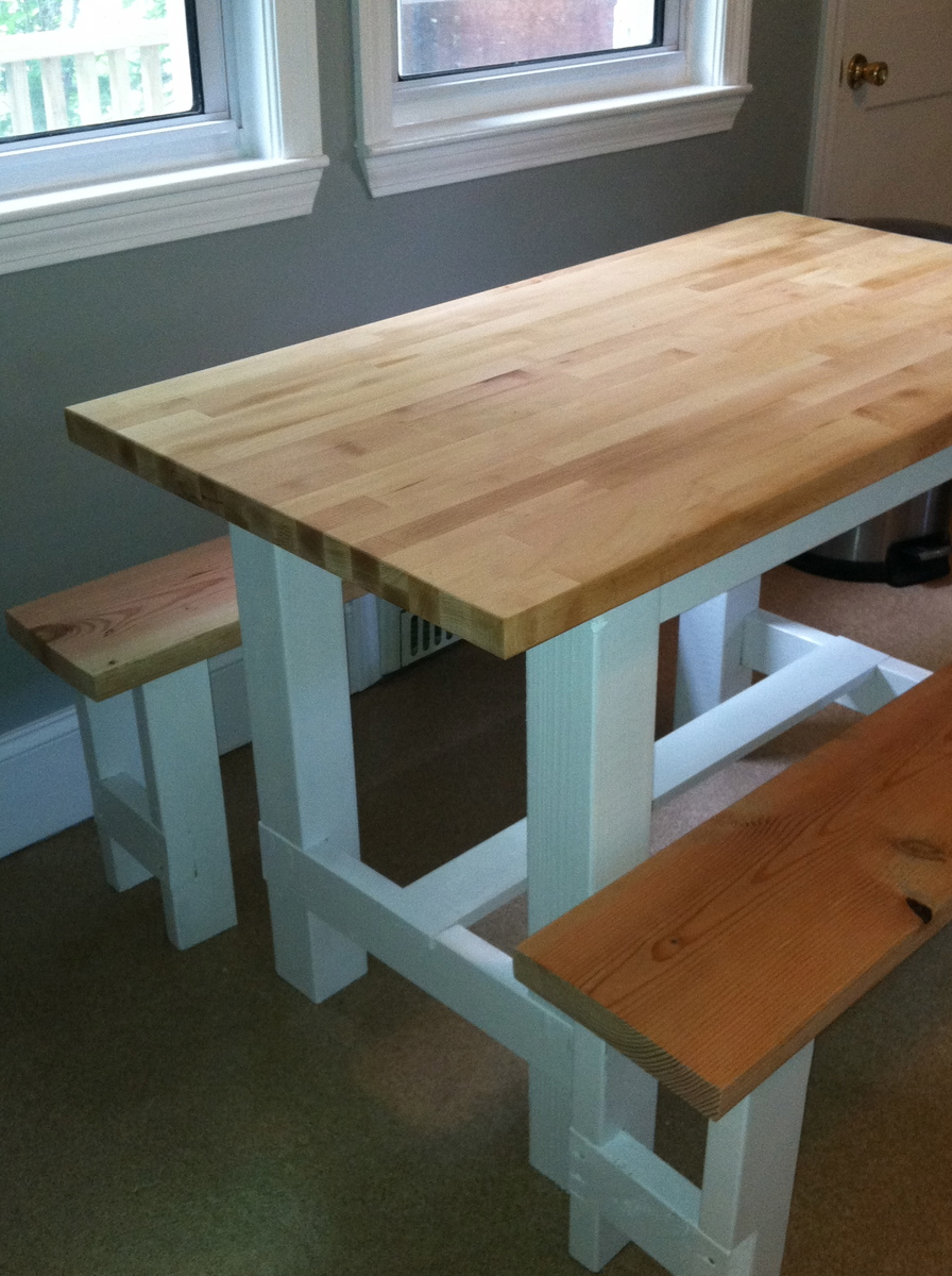 White Butcher Block Kitchen Table : Ana White Farmhouse Table with Butcher Block - DIY Projects