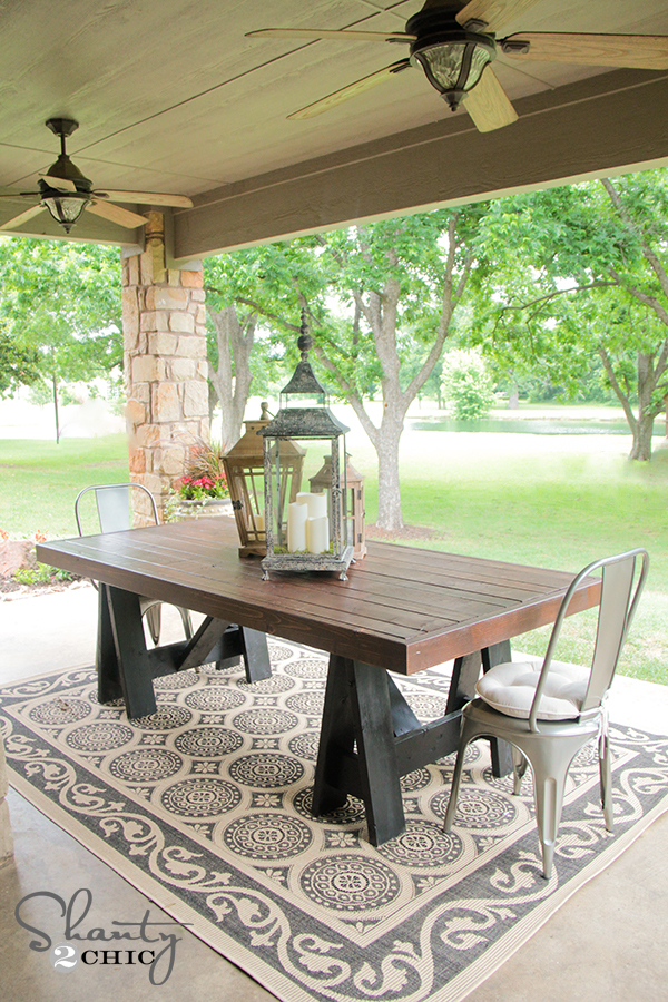 Ana white sawhorse outdoor table diy projects for Diy garden table designs