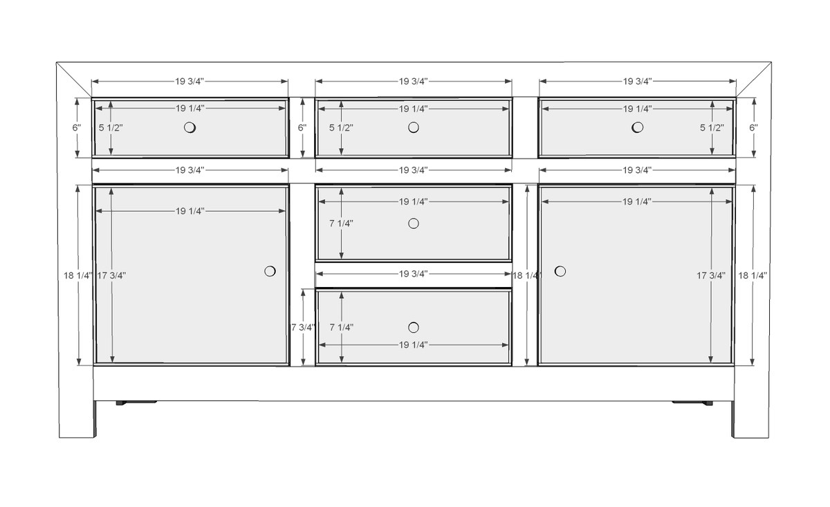 Ana white dawsen media console diy projects for Building face frame kitchen cabinets