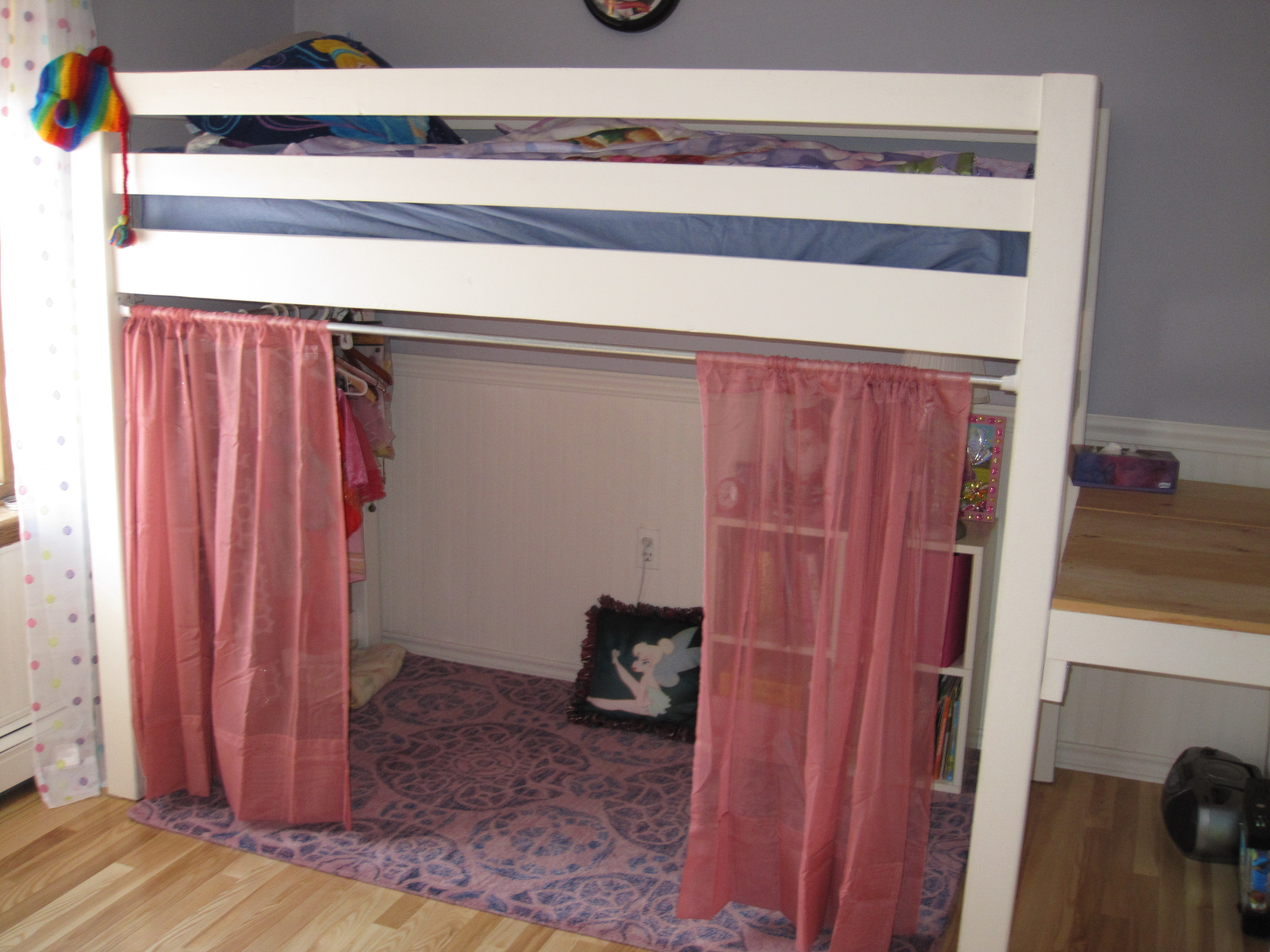 Ana White Junior Bunk Bed With Curtains And Dress Area Diy Projects
