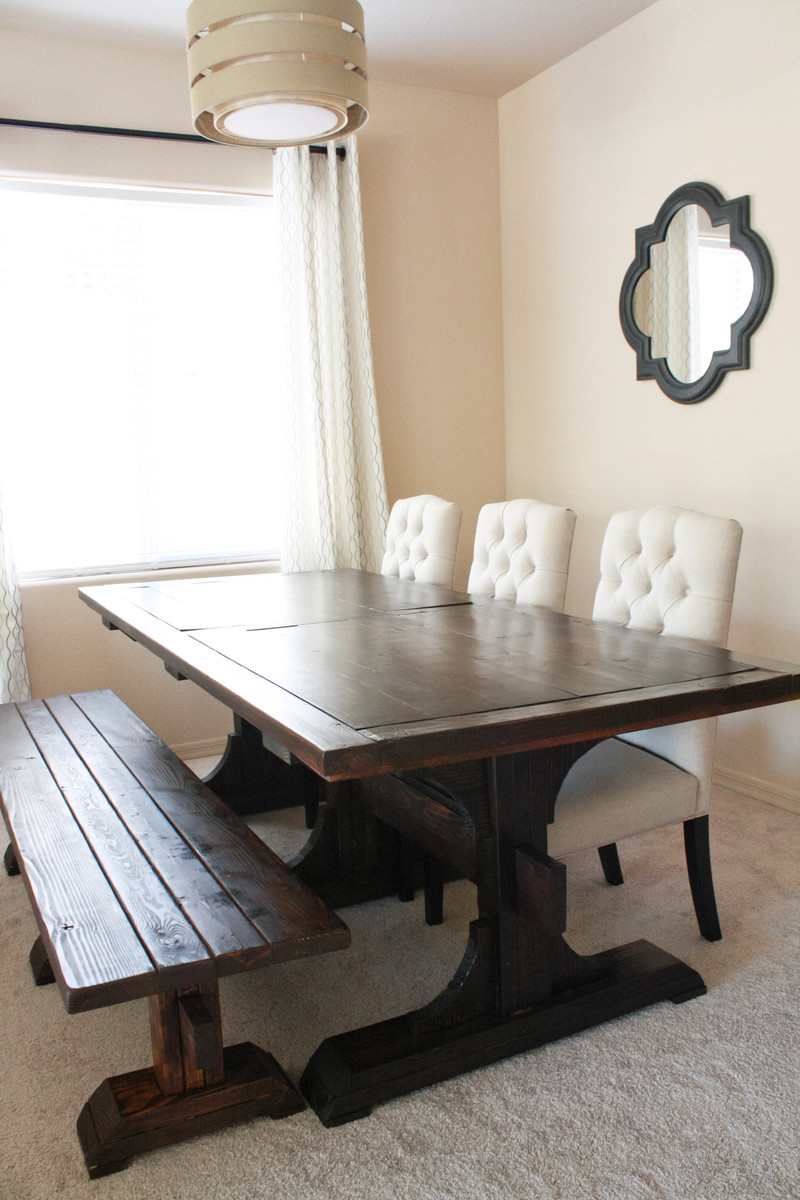 Ana White Triple Pedestal Farmhouse Table DIY Projects - Dark wood farm table