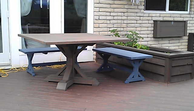 Ana White Square Fancy X Farmhouse Picnic Table And