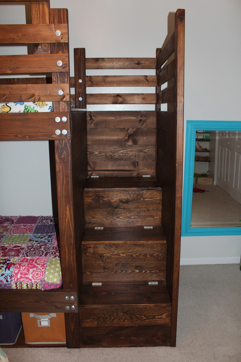 Bunk bed with stairs and storage - Bunkbed With Bookshelves Stairs And Storage Bins