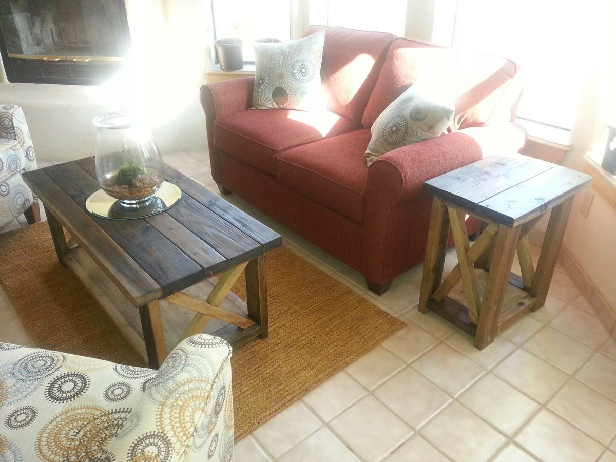 Ana white rustic x coffee and side tables diy projects for Coffee tables 2x4