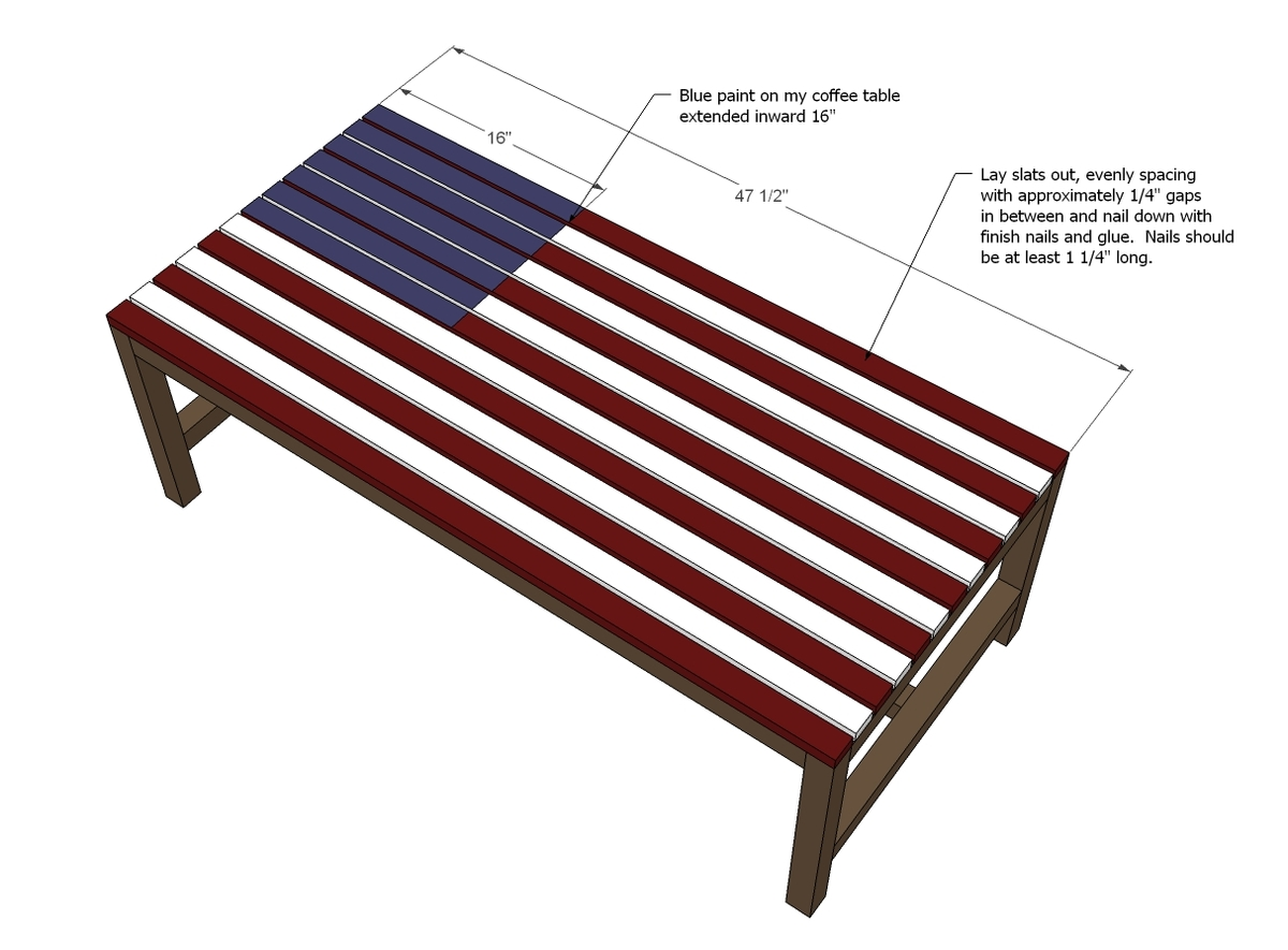 Flag Inspired Outdoor Wood Coffee Table Ana White