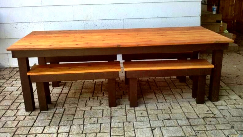 Awe Inspiring Modified Rustic Table And Benches Ana White Machost Co Dining Chair Design Ideas Machostcouk