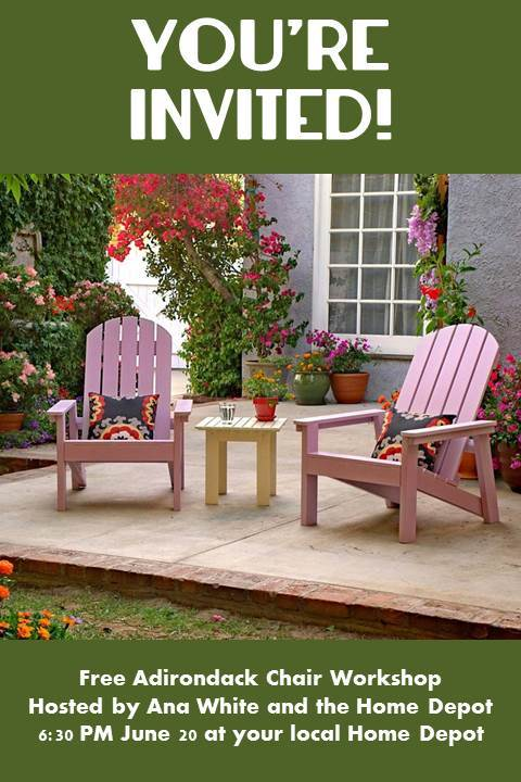 All Home Depot stores across the country will be hosting the free DIH  Workshop demonstrating building my Adirondack Chair on Thursday at 6PM. - Ana White Home Depot DIHWorkshop Adirondack Coffee Table - DIY