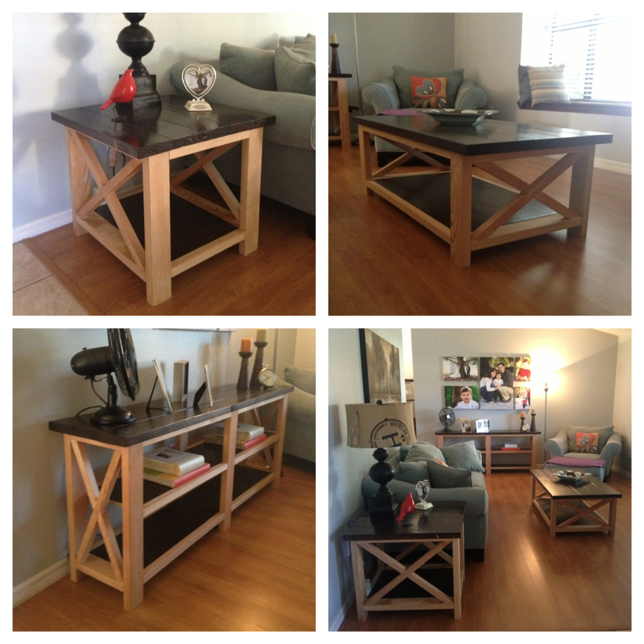 Ana white rustic x coffee table end table and console for Diy coffee and end tables