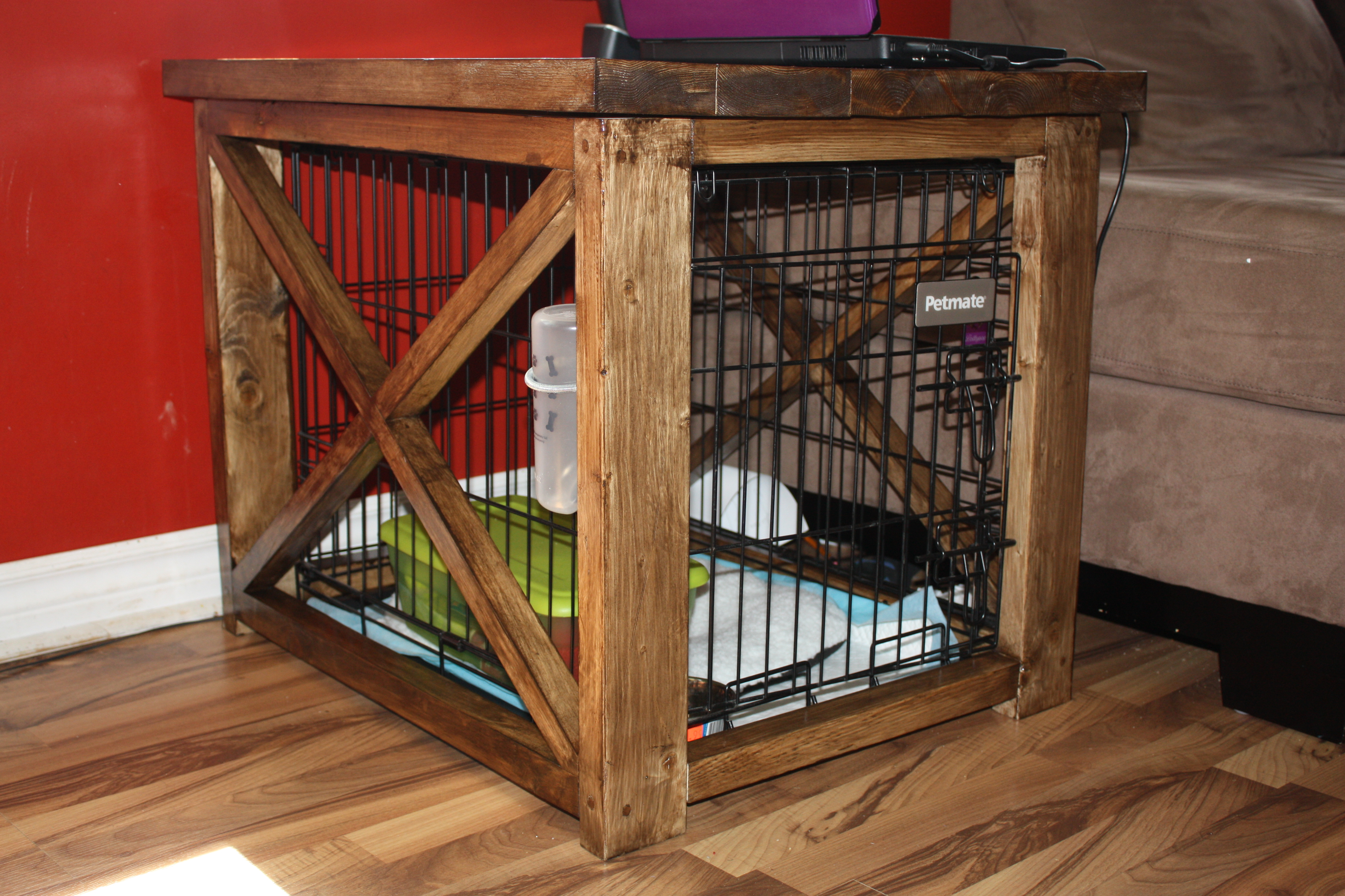 Rustic X End Table To Cover Up Dog Kennel