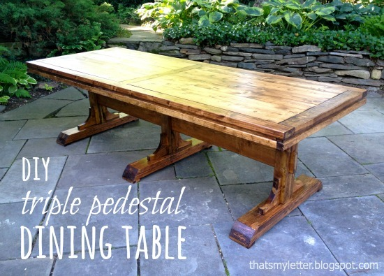 Ana white triple pedestal dining table diy projects Pedestal farmhouse table plans
