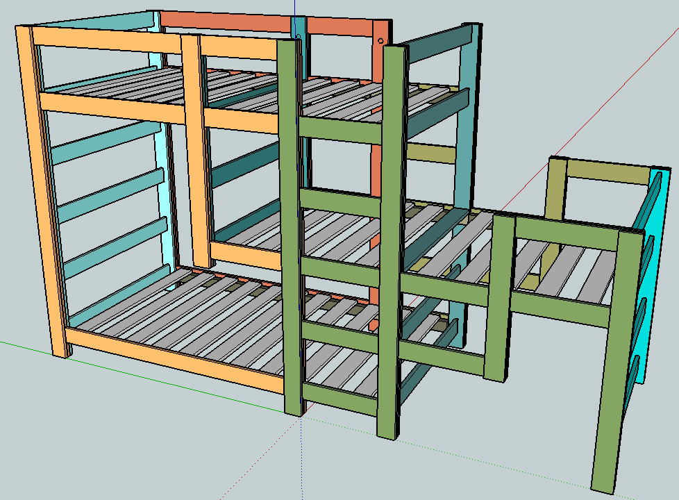 Build a triple bunk bed free plans free download pdf for Bunk bed woodworking plans