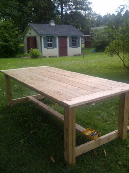 Diy Outdoor Farmhouse Table Intended Ana White Outdoor Farmhouse Table Made Of Cedar Diy Projects