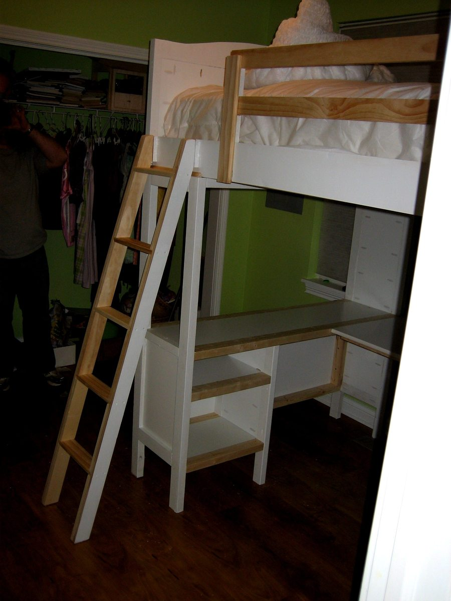 with tower desk bed loft beds chelsea diy and storage vanity
