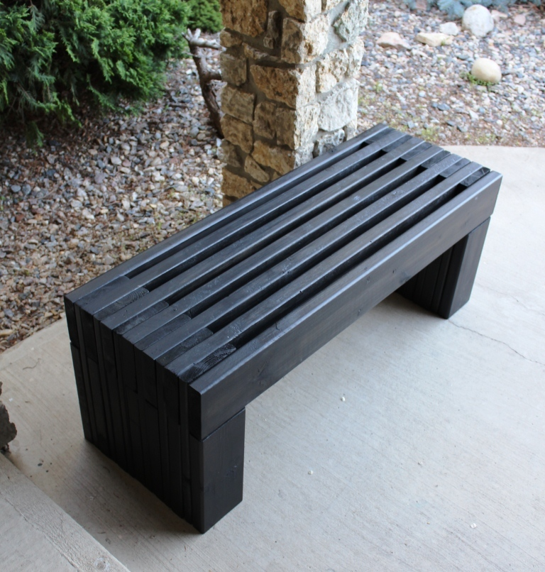 Ana white modern slat top outdoor wood bench diy projects for Bancas para jardin de madera