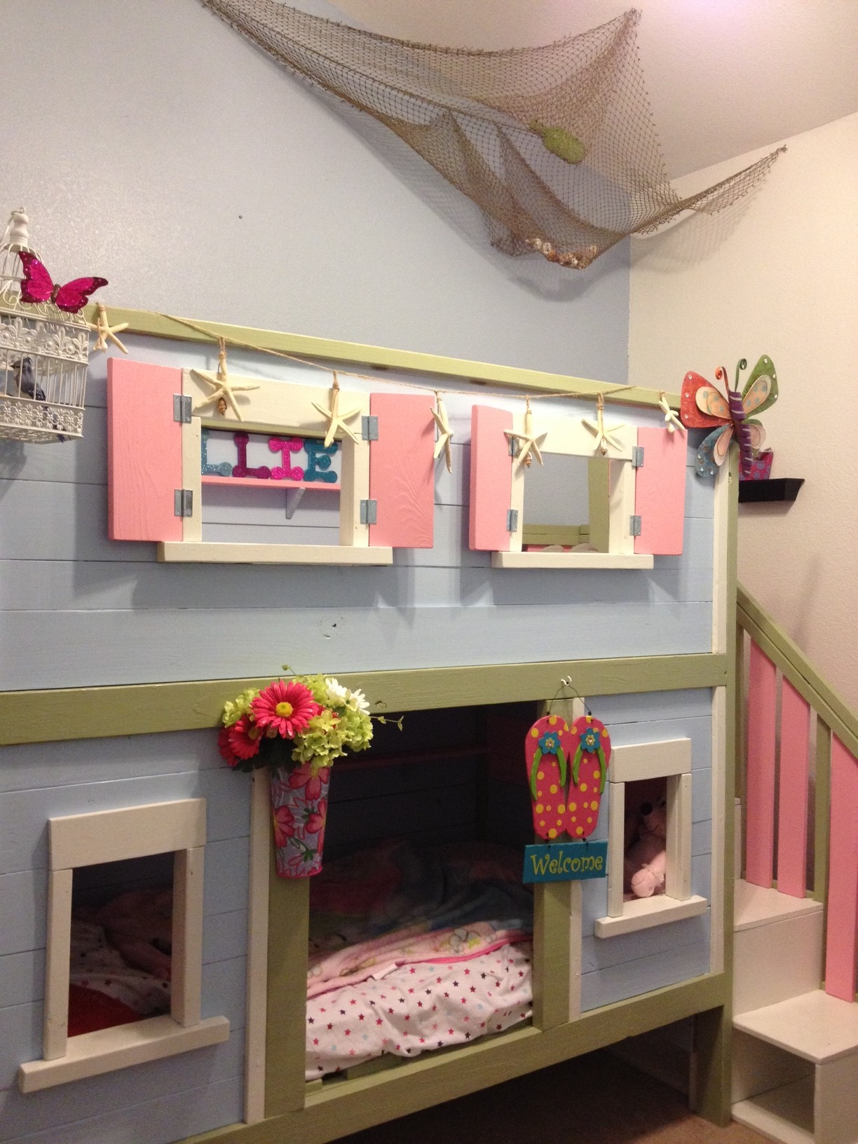 Ana White Sweet Pea Bunk Bed Turned Beach House Diy