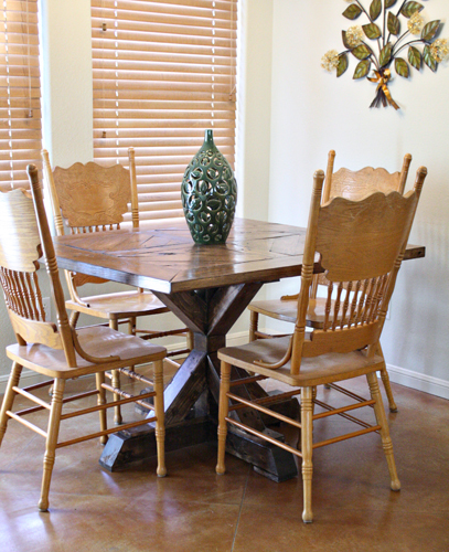 Table For Her Sister That Was Square And Fit A Smaller Dining E With An X Base We Were Inspired By From Restoration Hardware But Who Can