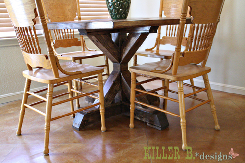 Brooke Wanted To Build A Table For Her Sister That Was Square And Fit Smaller Dining E With An X Base We Were Inspired By From Restoration