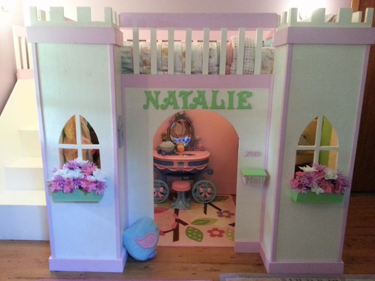 Ana white princess castle loft bed diy projects for How to make a princess bed