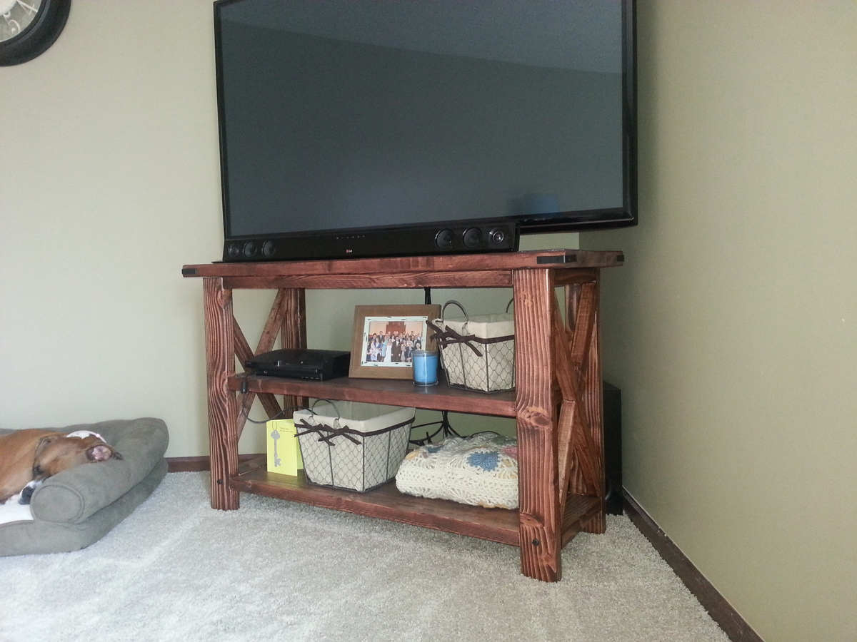 Ana White Rustic X Console Table With Minwax Gel Stain