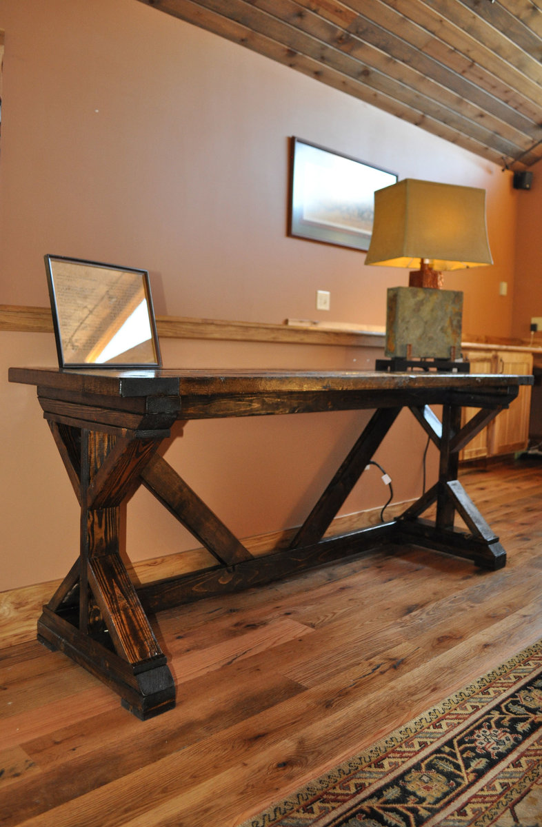 Ana White | Fancy X Desk with Breadboard top - DIY Projects