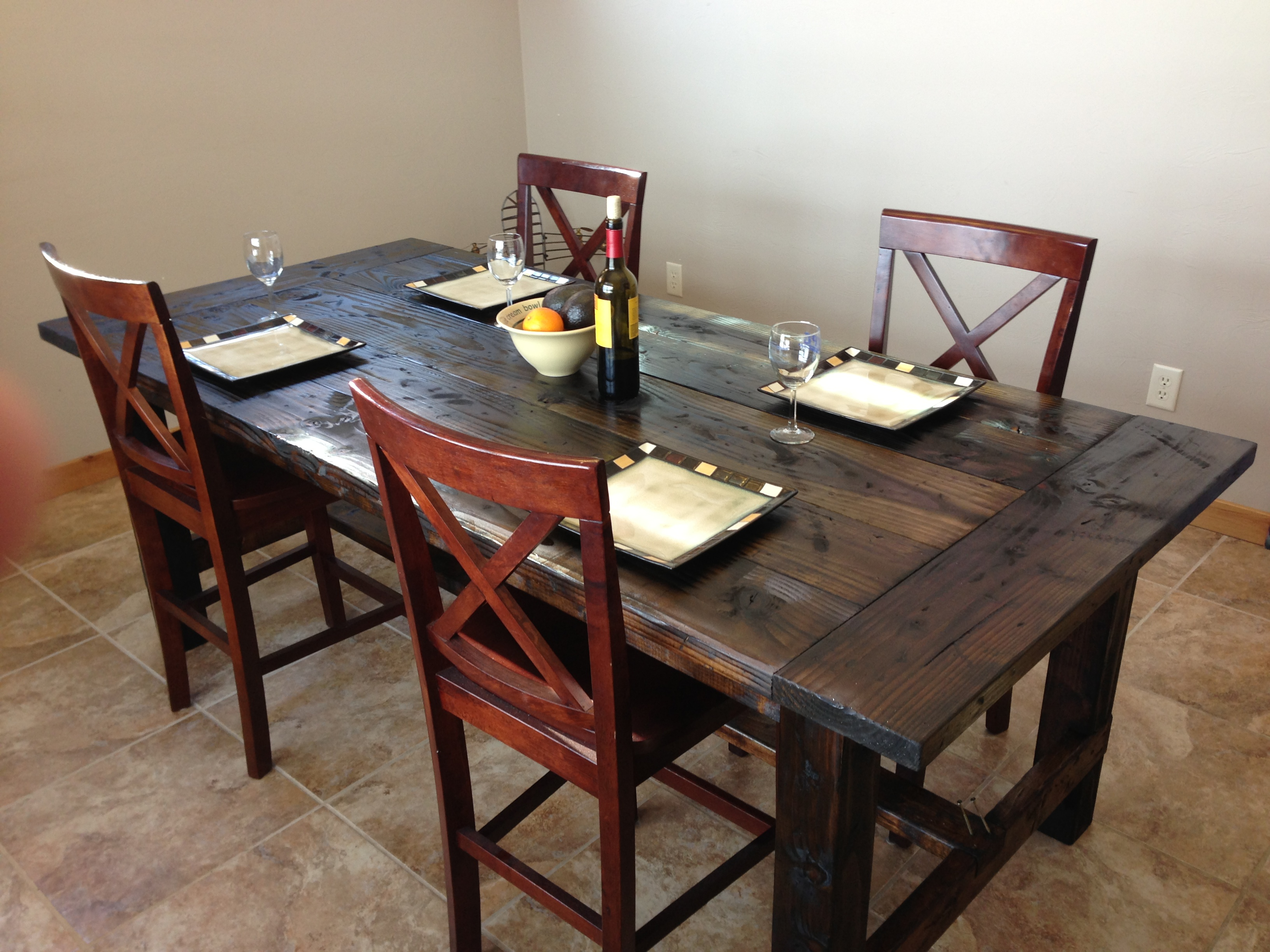 Ana white farm style dining table diy projects for Farmhouse style kitchen table