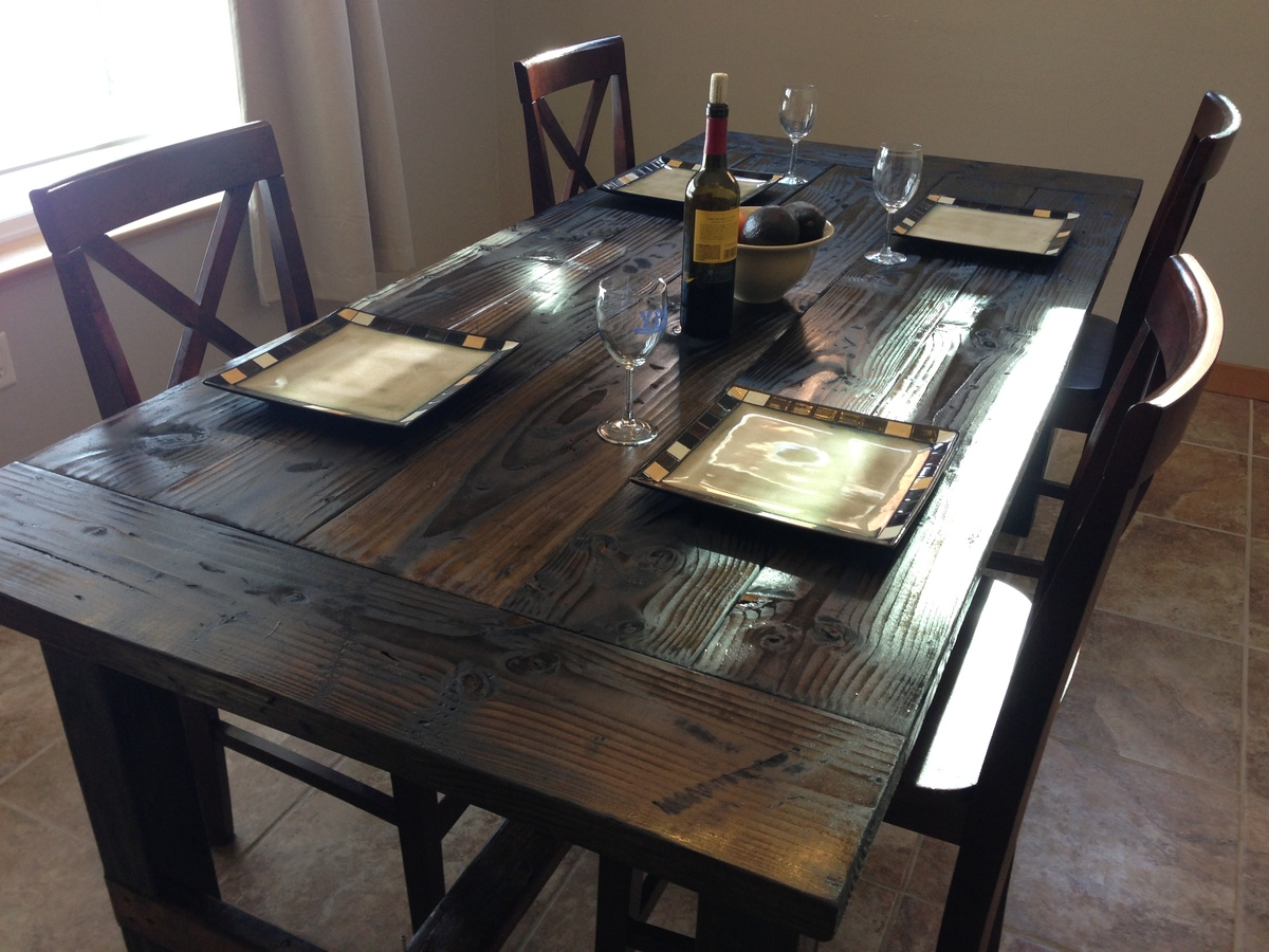 Ana white farm style dining table diy projects How to build a farmhouse