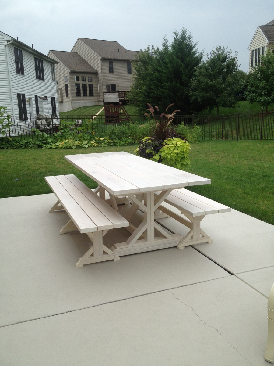 Ana White Fancy X Farmhouse Table And Benches Diy Projects