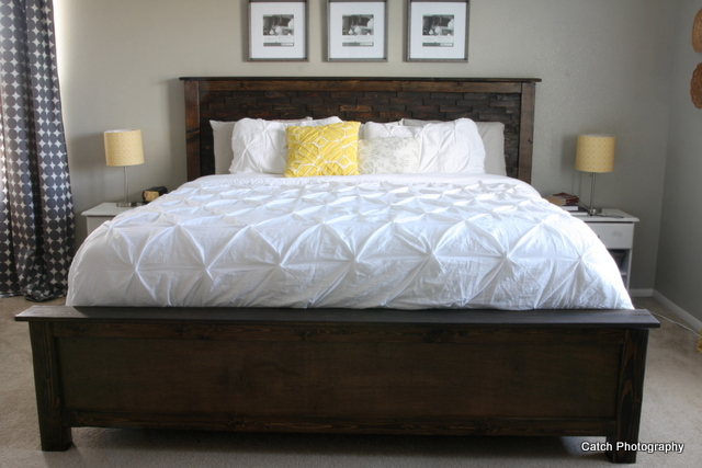 ... fancy up this headboard! Free DIY bed plans (king) from Ana-White.com