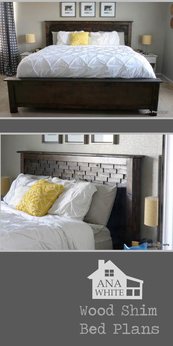 Fresh Wood shims fancy up this headboard Free DIY bed plans king from Ana White