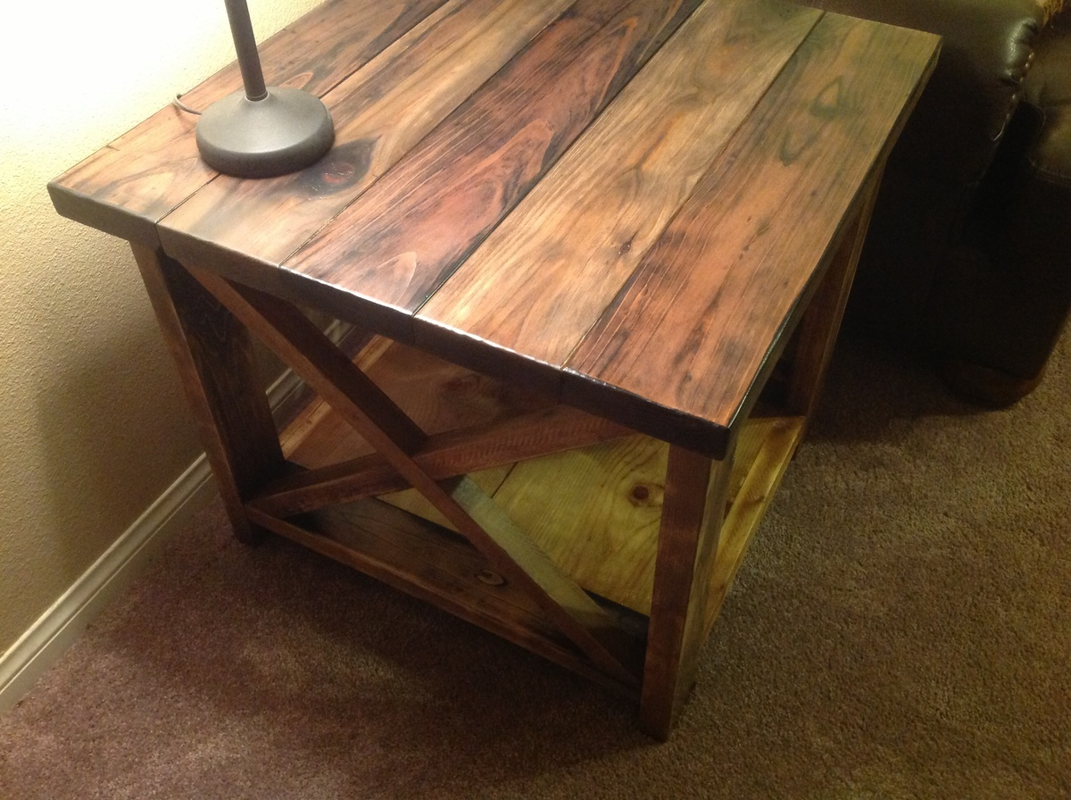 Rustic X End Table