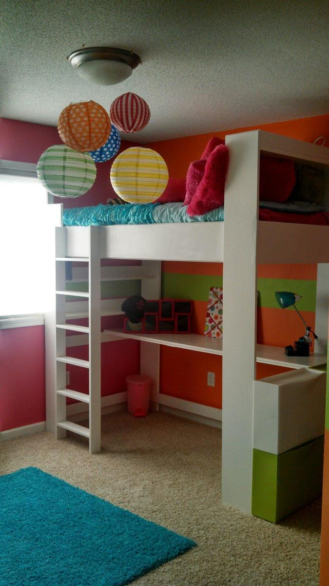 Ana white my daughters loft bed and room diy projects - Loft and roomers ...