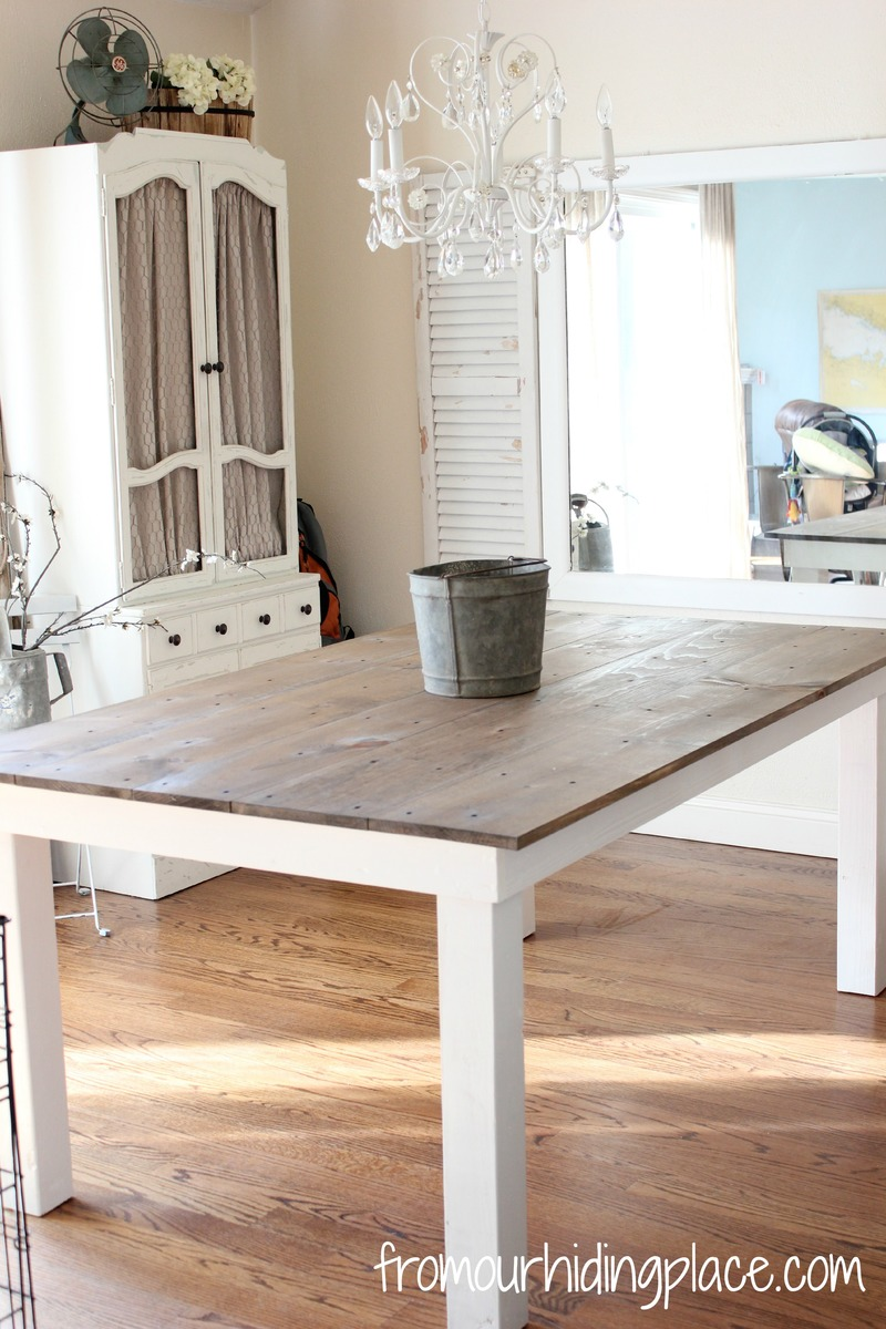 Ana white rustic farmhouse table diy projects for Farmhouse dining room table