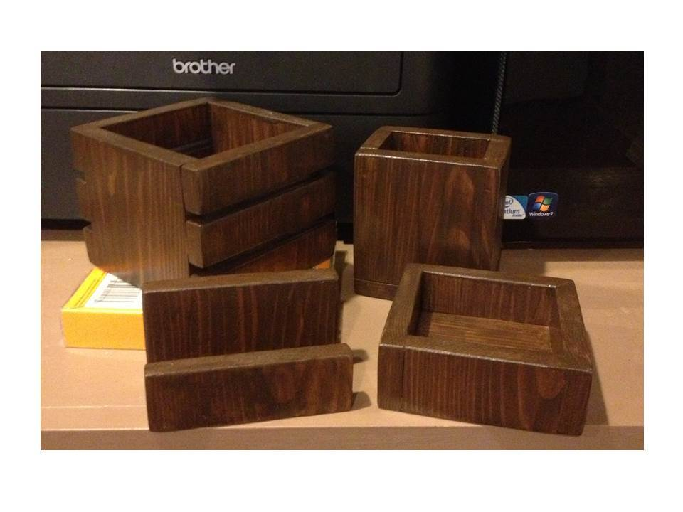 1 Board Cedar Desk Accessory Set