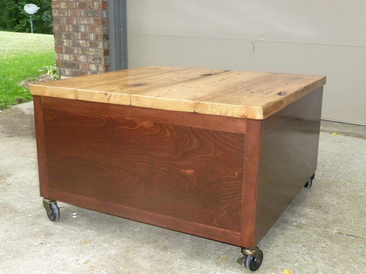 Library coffee table with reclaimed barn wood top diy projects