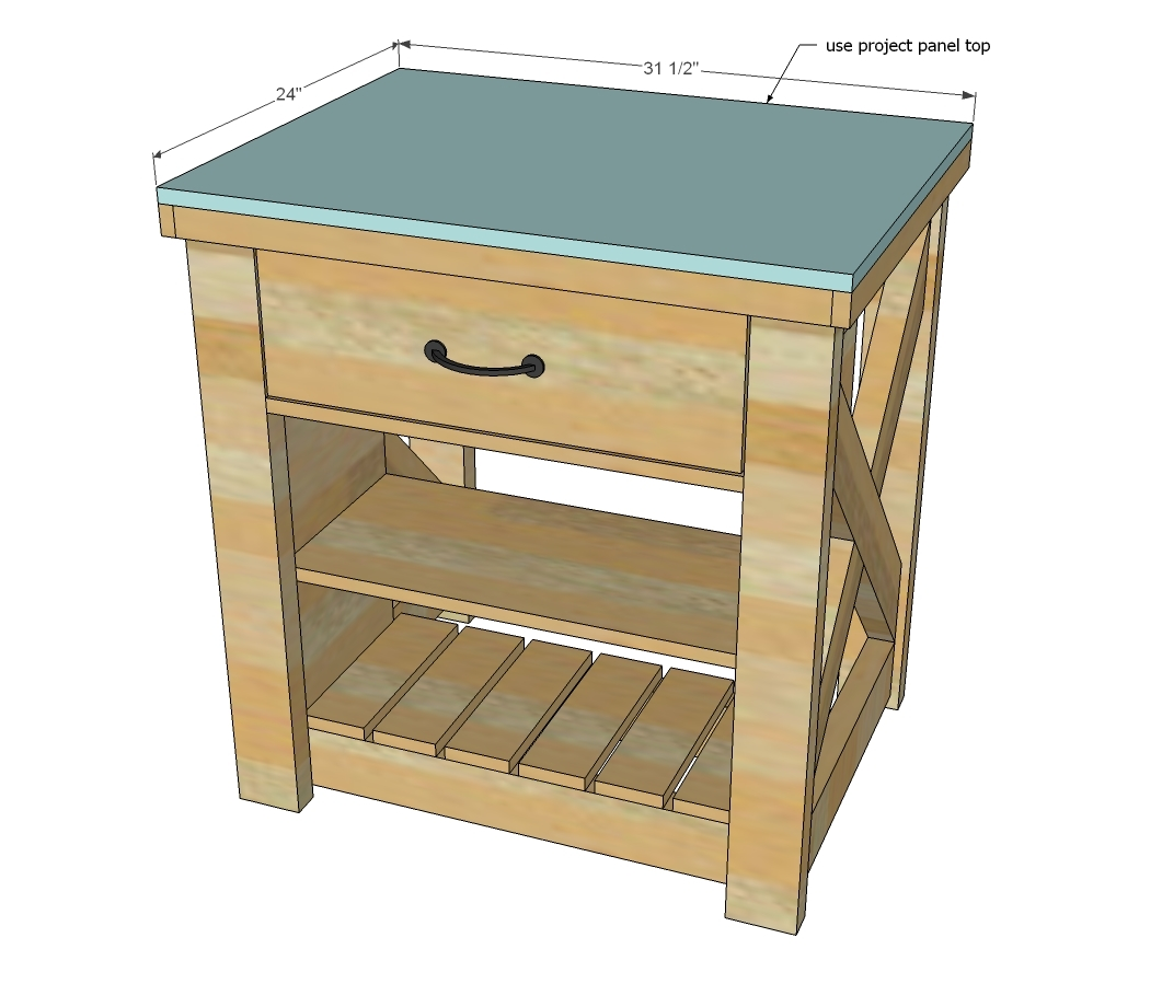 Rustic X Small Rolling Kitchen Island - DIY