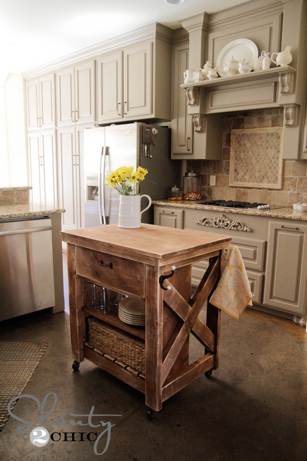 Rustic X Small Rolling Kitchen Island | Ana White