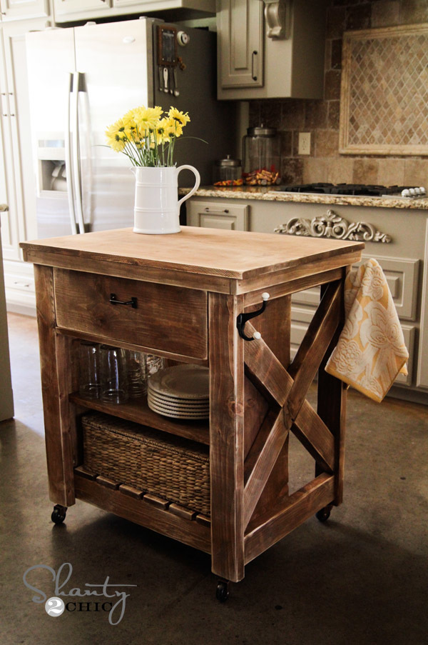 Kitchen Island Cart Diy ana white | rustic x small rolling kitchen island - diy projects