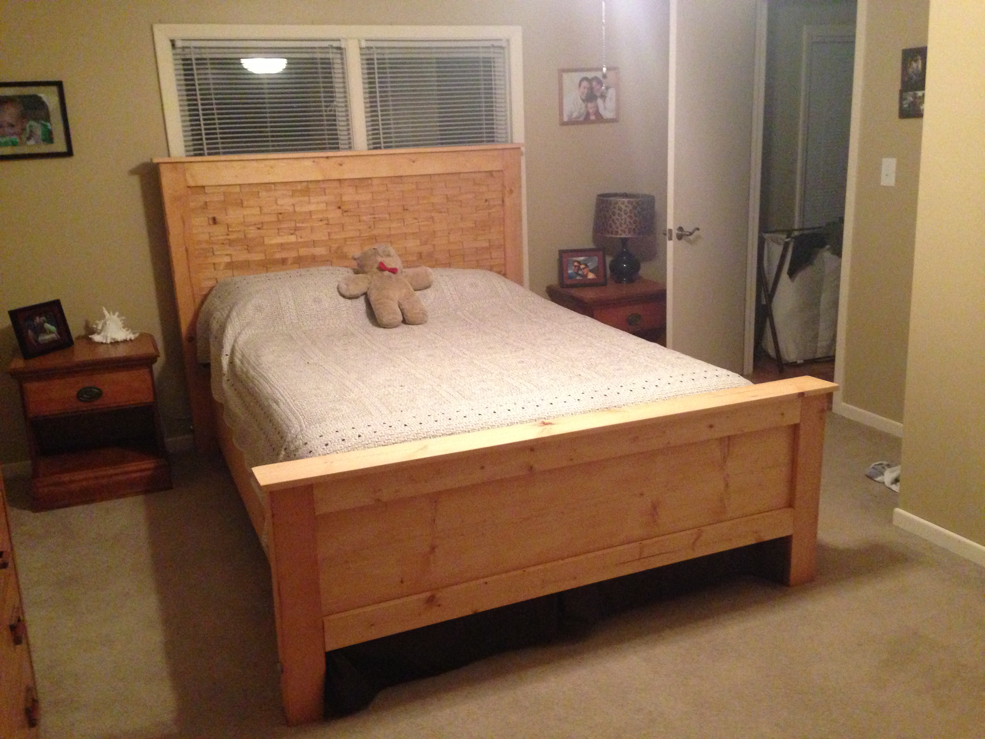 Ana white diy wood shim bed plans queen diy projects for Bed frame plans