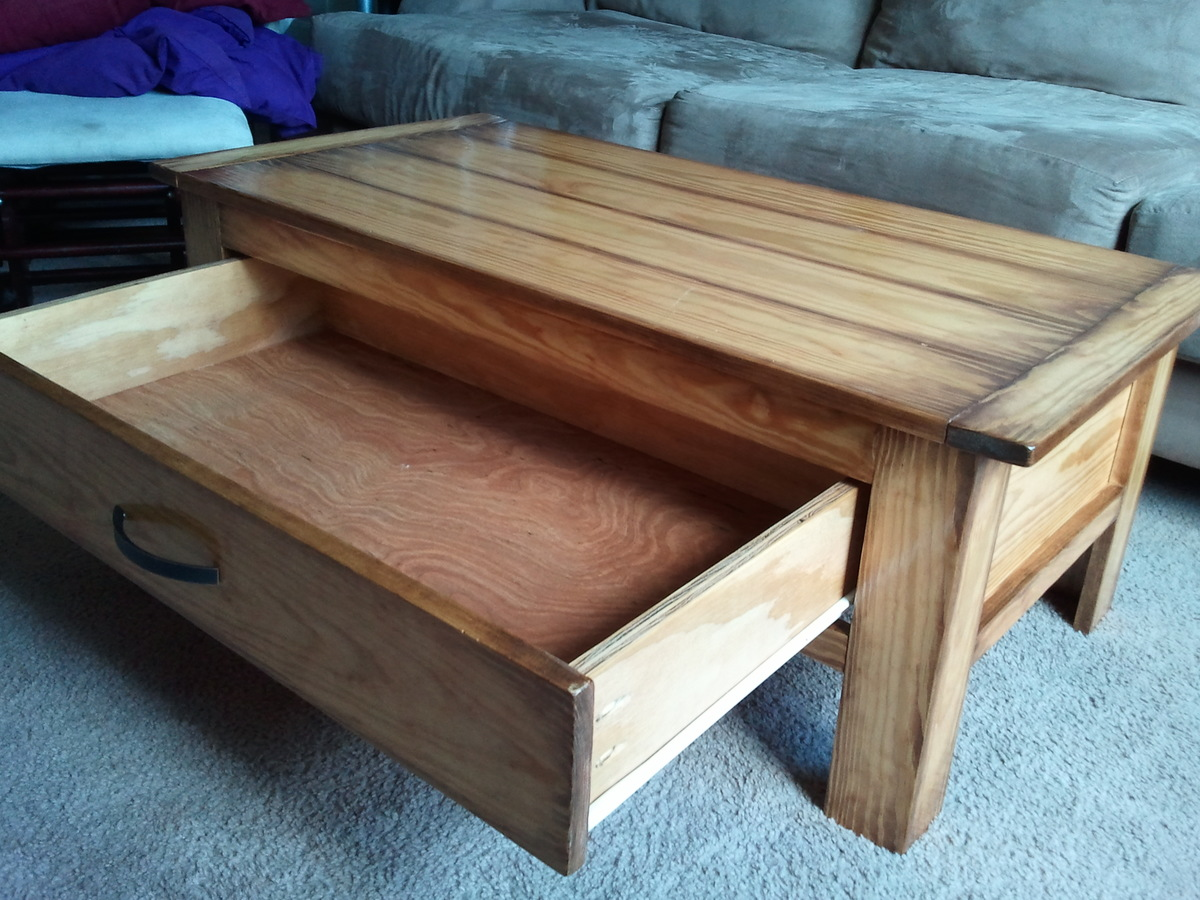 Building a coffee table with drawers plans diy free Homemade coffee table plans