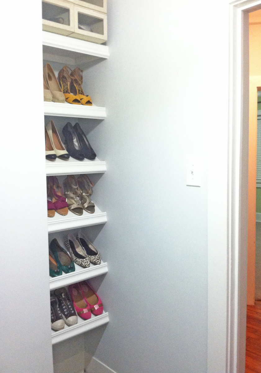 Ana white designer shoe shelves on a budget diy projects designer shoe shelves on a budget solutioingenieria Image collections