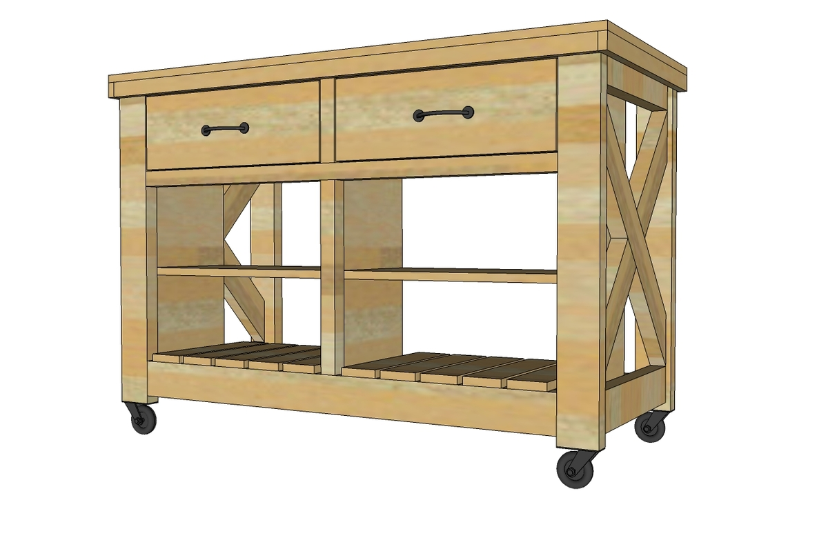 Free Plans To Build Rustic X Kitchen Island   Double Width   From  Ana White.com