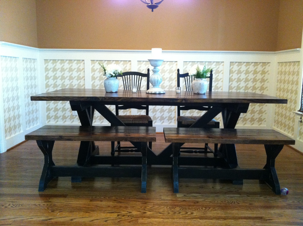 Ana White Our Square Trestle Table And Matching Benches DIY - Farmhouse table atlanta