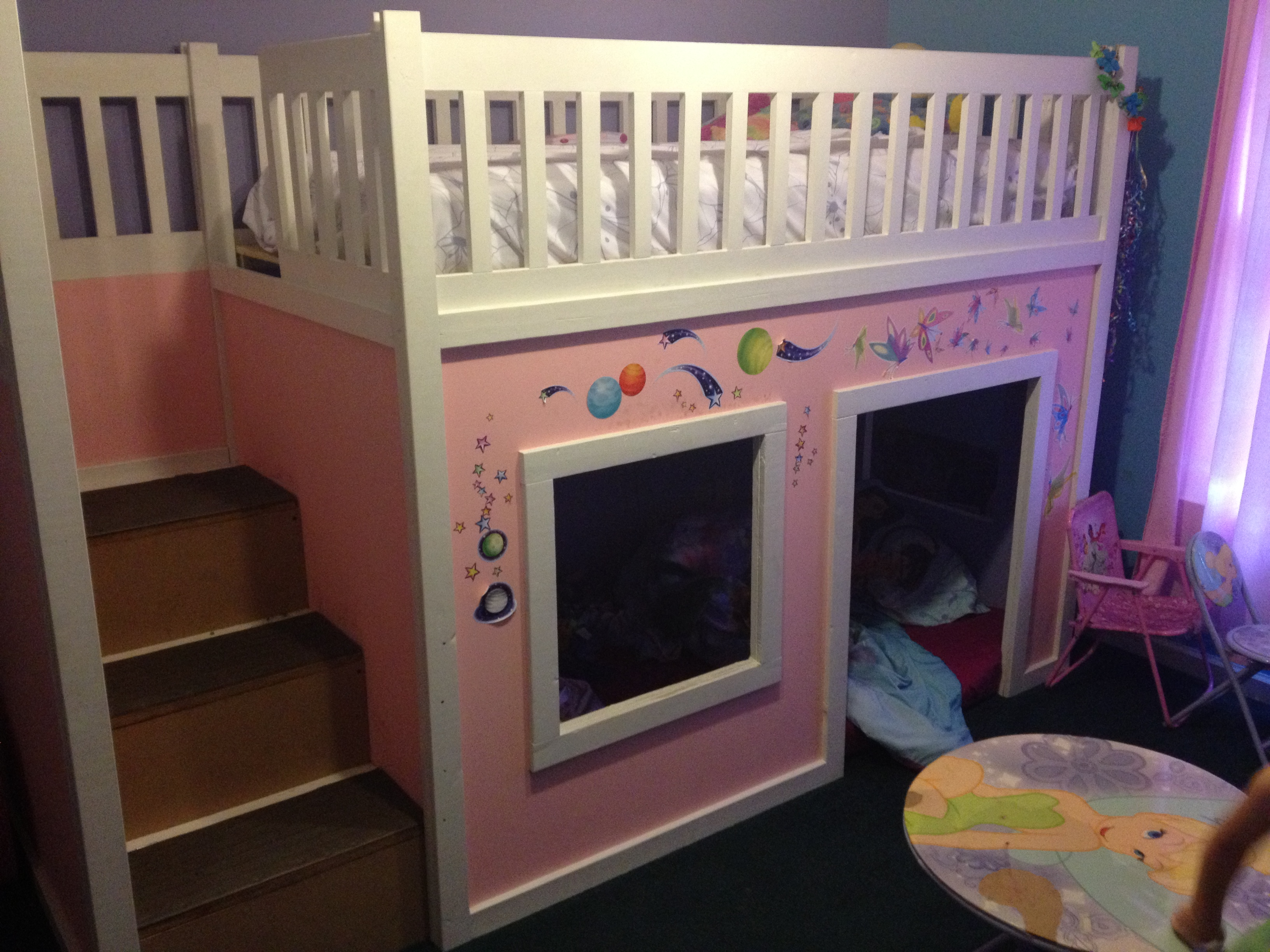 Ana White Playhouse Loft Bed With Storage Steps Diy